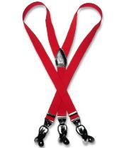 Mens Red Suspenders Y Shape Back Elastic Button & Clip Convertible