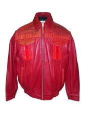 - 2033 Red Zipper Closure Calf Skin/Ostrich Leg/Crocodile Jacket