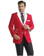 Red And White Lapel Tuxedo Blazer Dinner Jacket - Red Tuxedo