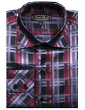 Fancy Shirts Red/Black(100% Polyester) Flashy Shiny Satin Silky Touch