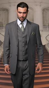 2 Button 3 Piece Vested Suit with Pleated Pants in Dark Oxford Charcoal Grey