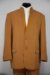 Mandarin Collar Rhinestone Accents Cross Stripe Mandarin Banded No Collar Suit