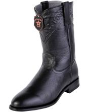 Handcrafted Black Los Altos Roper Toe Style Genuine Elk Leather Boots