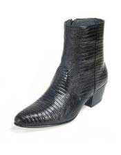 Altos Mens Genuine Full Teju Lizard Ankle Boot Medium Round Toe