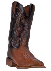 Wide Round Toe Handcrafted Dan Post Conrad Cognac Smooth Ostrich Boots