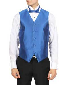 Mens Royal Blue Solid 4-Piece Vest Set Also available in Big and Tall Sizes