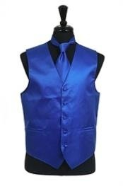 Rib Pattern Dress Tuxedo Wedding Vest Tie Set Royal Blue