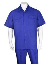 Mens Royal Blue Casual Short Sleeve Two Pieces Casual Two Piece Walking Outfit For Sale Pant Sets