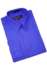 Blue Cotton Blend Dress Shirt With Convertible Cuffs