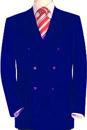 Quality Royal Blue Mens Double Breasted Suits Jacket Blazer with Peak