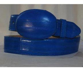Authentic Faded Royal Blue Eel Skin Western Cowboy Belt