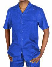 Mens 5 Button Canary 100% Linen Short Sleeve Royal Blue Two Piece Casual Two Piece Walking Outfit