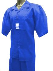 Mens Short Sleeve 2 Piece Solid Linen Royal Blue Casual Two Piece Walking Outfit For Sale Pant