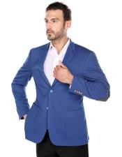 Mens royal Blue Slim Fit elbow patches fashion Blazer