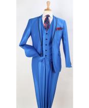 Royal Blue Two Toned And Fashion Trim Lapel Wedding / Prom / Homecoming Tuxedo Vested 3 Pieces