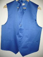 BLUE DRESS TUXEDO WEDDING VEST & TIE SET