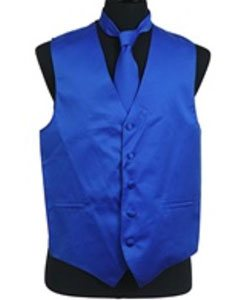 Tuxedo Wedding Vest ~ Waistcoat ~ Waist coat Tie Set Royal Blue
