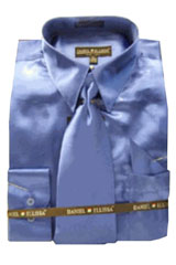 Cheap Sale Mens New Royal Satin Dress Shirt Tie Combo Shirts