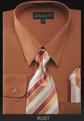 Dress Shirt - PREMIUM TIE - Rust