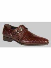 Mezlan Brand Rust Genuine Crocodile Monk Strap Shoes
