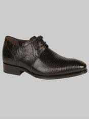 Brand Mens Salk Style Black Genuine Lizard Shoes
