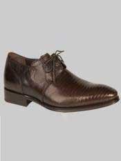 Brand Mens Salk Style Brown Genuine Lizard Shoes
