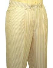 ~ sear sucker Yellow Slacks Dress Pants (No Pleated is available) also other colors available unhemmed unfinished