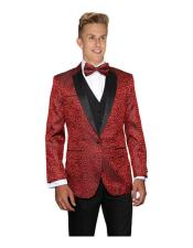 Red Modern Fit Floral Sateen Unique Paisley Sport Coat Wool Sequin Shiny Flashy Silky Satin Stage Cheap