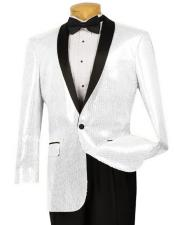 Mens Black Lapel Blazer ~ Sport Coat Tuxedo Dinner Jacket Sequin ~