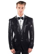 Mens Black 2 Buttons Sequined Reptilian Print Blazer Matching Bow Tie
