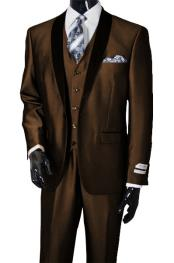 Nardoni Mens Shawl Lapel Vested 3 Piece Suit Tuxedo Suit Brown