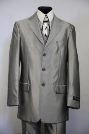 Single Breasted Sharkskin Metallic Zoot Suit Silver