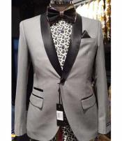 Silver Slim Fit Two Toned Black Lapel Shawl Collar Dinner Jacket