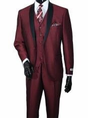 2 Piece No Vest Two Toned Shawl Lapel Vested Burgundy ~ Wine ~ Maroon Color Sharkskin Shiny