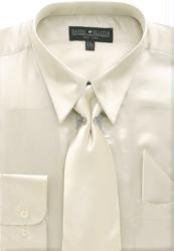 Cheap Sale Mens Beige Shiny Silky Satin Dress Shirt/Tie