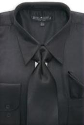 Cheap Priced Sale Mens Black Shiny Silky Satin Dress Shirt/Tie