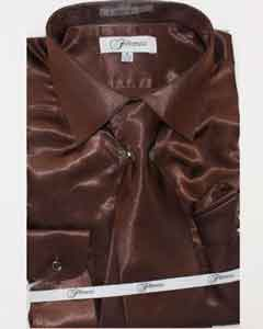Mens Shiny Luxurious Shirt Dark Brown