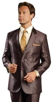 sharkskin Single Breasted Mens Suit Side-Vented Brown