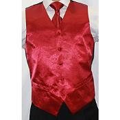 Mens Shiny Burgundy ~ Maroon ~ Wine Color Microfiber 3-Piece Vest Also available in Big and Tall