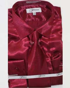 Mens Shiny Luxurious Shirt Burgundy ~ Maroon ~ Wine Color