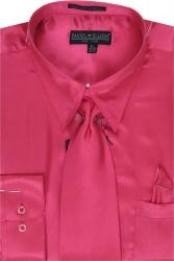 Cheap Sale Mens Fuschia Shiny Silky Satin Dress Shirt/Tie