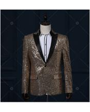 Gold / Yellow & Black Real Sequin With Black Tuxedo Dinner Jacket