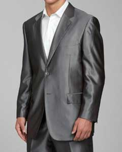 Grey 2-button Mens Sharkskin