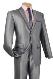 & Formal Shiny Grey ~ Gray Trimmed Two Button Slim Fit Mens Sharkskin Suit