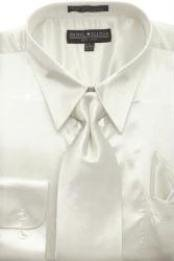 Cheap Priced Sale Mens Ivory Shiny Silky Satin Dress Shirt/Tie