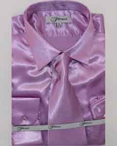 Mens Shiny Luxurious Shirt Lavender