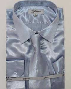 Mens Shiny Luxurious Shirt Light Blue ~ Sky Blue