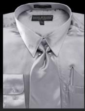 Light Gray Shiny Satin Tie Set Mens Dress Shirt
