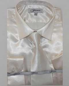 FerSH1 Mens Ivory ~ Cream Shiny Luxurious Shirt Off White