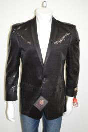 Satin Shiny Sequins One Button Blazer Shawl Collar 100% Polyester Black